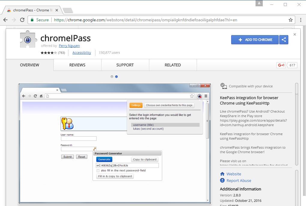 KeePass browser plugins - LinLog