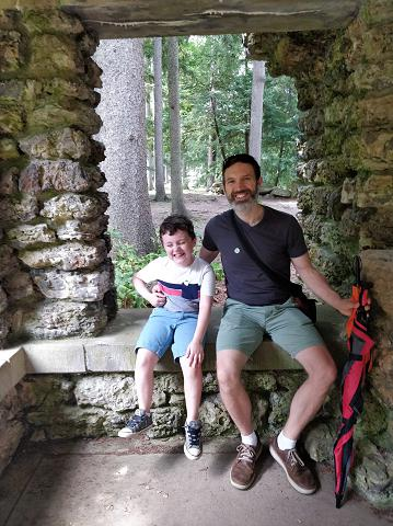 My son and I in the rock garden